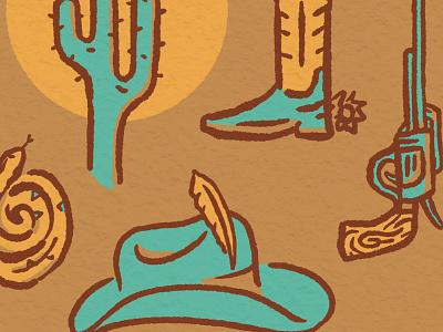 Southwestern USA southwest usa cactus snake cowboy hat gun boots procreate western southwestern design drawing little mountain print shoppe hand drawn illustration joe horacek