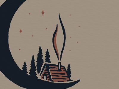 Moon Cabin procreate midnight night sky winter forest cabin moon design drawing little mountain print shoppe hand drawn illustration joe horacek