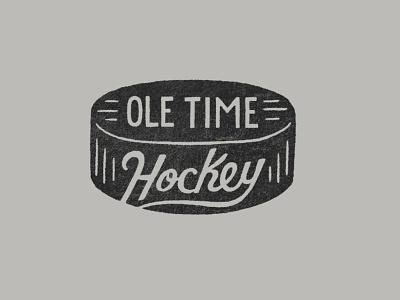 Ole Time Hockey Puck 2021 large hoodies dot pattern lettering design sketch type little mountain print shoppe hand drawn typography illustration joe horacek hockey player puck ice hockey hockey