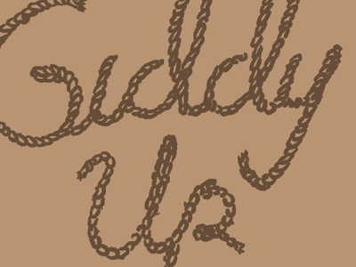 Giddy Up cowboy type lettering design hand drawn typography illustration