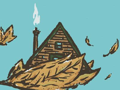 Hidden Gems & Lost Secrets procreate art leaves aframe cabin design drawing sketch little mountain print shoppe hand drawn illustration joe horacek