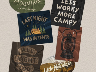 CAMP Sticker Pack art lettering graphic design branding design drawing sketch little mountain print shoppe hand drawn joe horacek typography illustration tents camping camp
