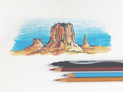 Red Rocks & Blue Skies westward expansion little mountain print shoppe red rock great plains joe horacek travel explore nebraska sharpie sketch drawing illustration