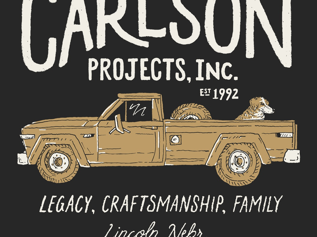 Carlson Projects Inc (2 of 2) carlson projects branding lincoln screen printing nebraska lettering design sketch drawing hand drawn type little mountain print shoppe typography illustration joe horacek