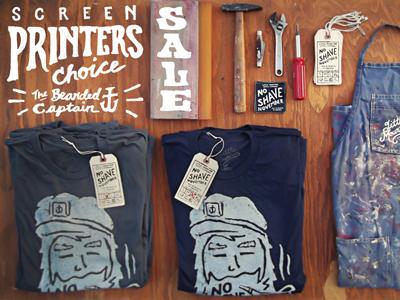 Screen Printers Choice photography typography screen printing sale joe horacek hang tag no shave november shirts hand printed
