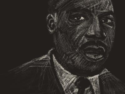 Martin Luther King Jr art chalk art hand drawn sketch drawing joe horacek illustration martin luther king jr