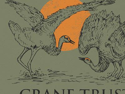 Crane Trust screen printing birds midwest great plains nebraska drawing design little mountain print shoppe hand drawn illustration joe horacek sandhill cranes cranes
