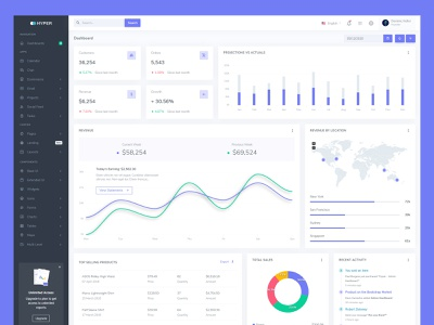 Hyper - Admin & Dashboard projects colorful admin dashboard clean flat design ui ux dashboard admin