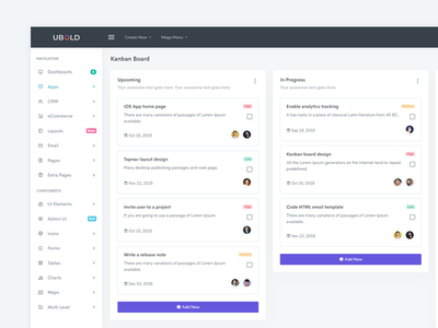 Kanban Board - UBold Admin user ubold dashboard flat design dashboad ui admin task management task board kanban