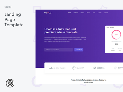 Landing Page - UBold Admin logo card colorful vector landing clean design branding typography business website gradient flat landing page ui