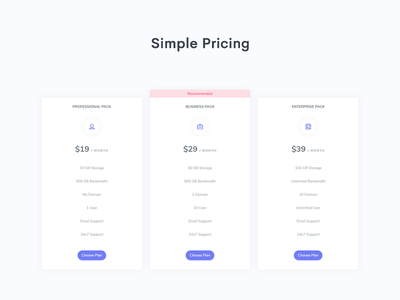 Pricing Page - Hyper Admin admin dashboard plan pricing clean flat admin ui