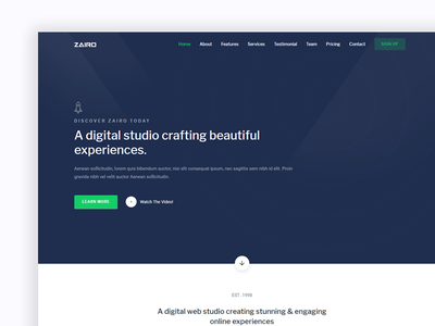 Zairo - Landing Page modern landing projects colorful clean flat design ux ui