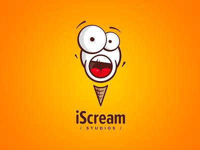 Mobile Game Studio / logo design splash screen mobile game ice cream mouth shout fun scream branding brand logo