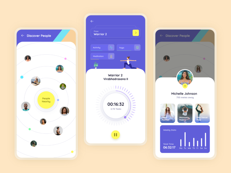Yoga App color yoga pose yoga fitness fitness fitness app exersice yoga app yoga after effects dashboard ios interaction animation design product design iphone x ios app minimal design interface design mobile app adobe xd