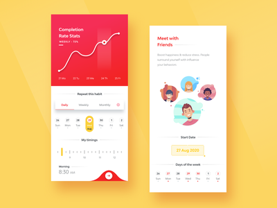 Habit Tracking ux minimal illustraion graphic typogaphy font flat design concept clean design clean ui clean brand animation android abstract 3d product design interface design mobile app