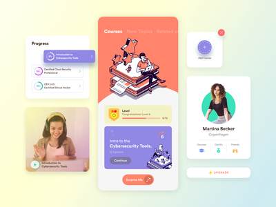 Online Learning Platform - Mobile App students study education app online flat colors online course course app courses elearning courses online learning illustration animation after effects interaction animation product design ios app minimal design interface design mobile app adobe xd