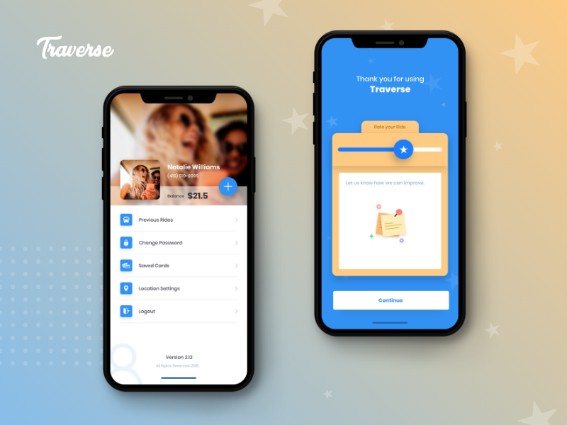 Traverse - Bus Booking App interface design rating page profile page travel iphone x ios app bus booking app mobile app ui  ux design
