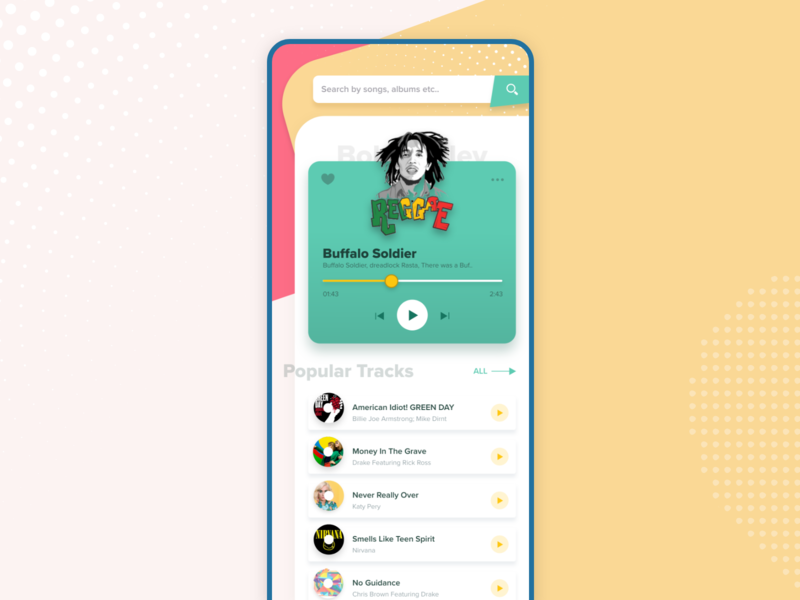 Music Player Concept rasta colors red yellow green modern app adobe xd product design retro rasta bob marley android ios visual design uiux ui music player mobile app music player ui music app