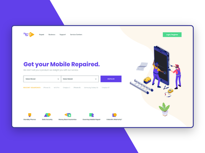 Mobile Repair Landing Page colours ios mobile repair shapes icons ux product design web product design website web design mobile repair ui home page landing page ui illustration interface design minimal design adobe xd mobile app