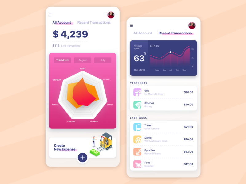 Expense Tracker Concept iconography payment graph financial dashboard dashboard expense financial app expense manager expense managagement app expenses expense tracker product design iphone x ios design app minimal design interface design adobe xd mobile app