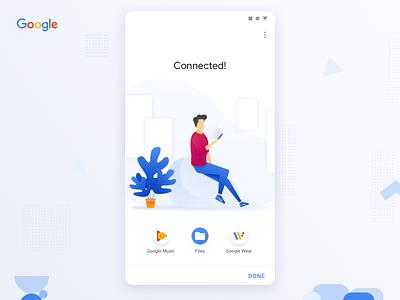 Google Concept Connected material design google concept connected connect material blue mobile illustration bluetooth concept google