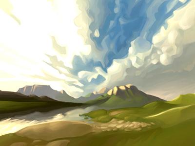 Cloudy cloud painter landscape