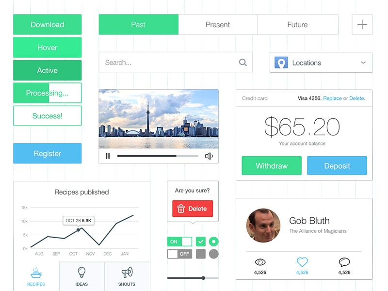 Thin & Bright UI Kit ui kit ui thin light white button tooltip analytics icons bright colorful