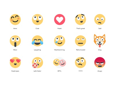 Reactions heart happy laughing sad illustration reactions emoticons emojis