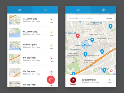 Honk List / Map ios android material clean ux ui items location map list