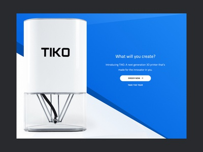 Tiko Landing homepage cross blue contrast site clean whitespace simple landing