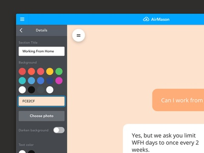 Web App Sidebar form color ios ui ux creator wizards site builder app