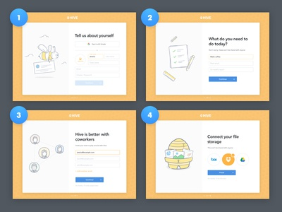Hive Onboarding drawing animation illustration form web app wizard clean bright tutorial walkthrough onboarding