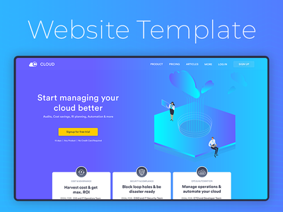 Concept Website Landing Page Template website landing page isometric design ux design ui user interface design cloud management system website concept website design
