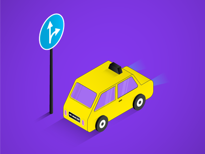 Isometric Car visual art taxi road sign 3d branding isometric design car vector dribbble free isometric art illustration
