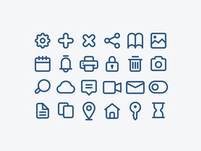 Basic UI Element Icons (Outline Style)