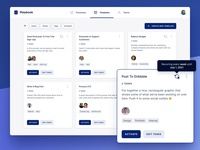 Templates Index Page app design web application tags streamline icons avatar drop shadow float popover task process inter font templates grid ux ui web app blue