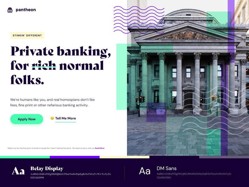 Color + Type Play landing page graphic design website design ux ui banking money neon purple green fat serif fintech finance bank dm sans belay display experiment color