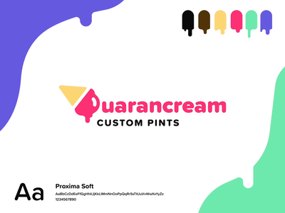 Quarancream™️ (Figma Animation) quarantine summer motion design identity branding design dessert purple green pink color palette icon logo animation smart animate figma proxima soft food vibrant ice cream branding
