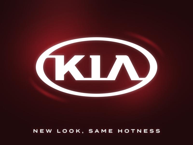 KIA Logo Redesign car design mark glow brand logotype termina font red shine highlight graphic design logo design auto kia identity branding logo