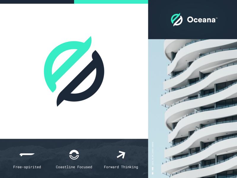 Oceana Logo logo design icons water ocean wavy grid engineering tshirt architecture building circular roboto mono charcoal green identity logo branding