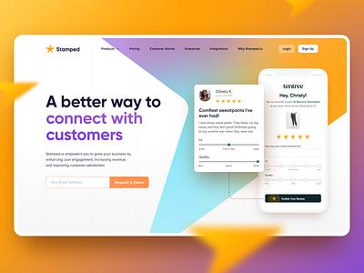 Stamped.io Hero Concept hero image review orange star ios arrow gradient website design web page design website hero