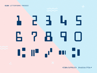E13B Font Letterforms (Freebie) credit card numbers giveaway bank freebie free typeface mono monospace checks blue paper letterforms font