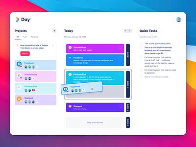 Day App Concept task list sprint planning app design inter font list to-do drag and drop drag cards ui web app app