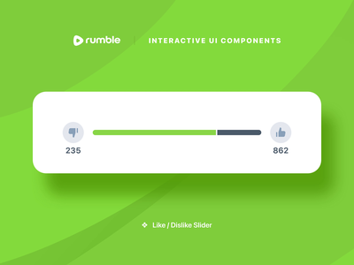 Rumble Like/Dislike Slider app design app mobile app sf pro slider status bar dislike uiux ux ui like video green micro interaction principle principle for mac animation