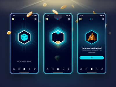 Box Opening Sequence app design android ios teal blockchain nft gamification game coins glow circular font boxiz mobile app ux ui open