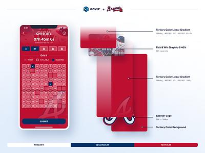Boxiz Sponsored Game Board pill button box baseball sports game atlanta braves braves atlanta circular font numbers grid sports app ux ui ui design game game board app design app