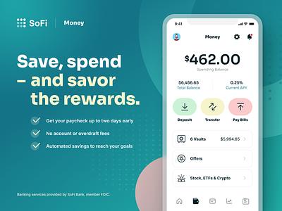 SoFi Money Product Design banking bank finance app fintech finance money nucleo icons iphone app ui design app design ios app ios iphone sora font uiux ui ux branding product design