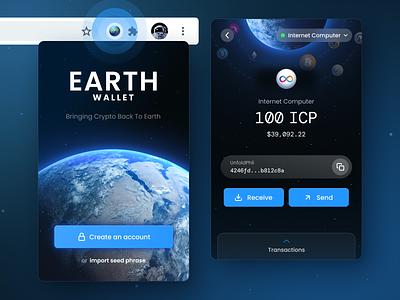 Earth Wallet UI crypto wallet wallet blockchain ethereum bitcoin internet computer digital assets app design glow carbon earth space blue uiux ui design ui web app chrome extension nfts crypto