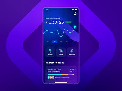 BlockFi Deposit Animation finance bank deposit fintech purple interaction micro interaction uiux app design ui design animation geometric gradient blue gemini ethereum bitcoin crypto wallet wallet crypto