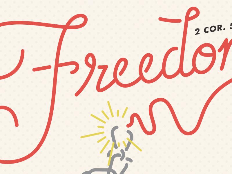Freedom freedom script chain red vintage 2 corinthians christ free cream